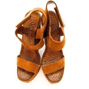 🍁🍂🔥Pedro Garcia Suede Ankle Strap Wedge Sandals